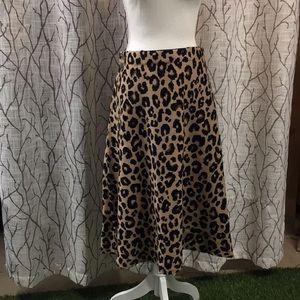 Ann Taylor knot leopard skirt